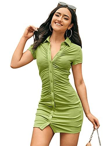 SweatyRocks Women's Short Sleeve Button Front Ribbed Knit Bodycon Mini Short Dress Lime Green S