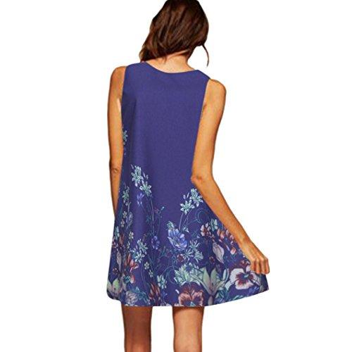 VEMOW Vintage Boho Frauen Sommerkleider Sleeveless Strand Gedruckt Kurzes Minikleid Eine Linie Abendkleid Täglich beiläufige Partei Weste T-Shirt Kleid Plus Size Rock(X1Blau 7, 46 DE/XL CN)