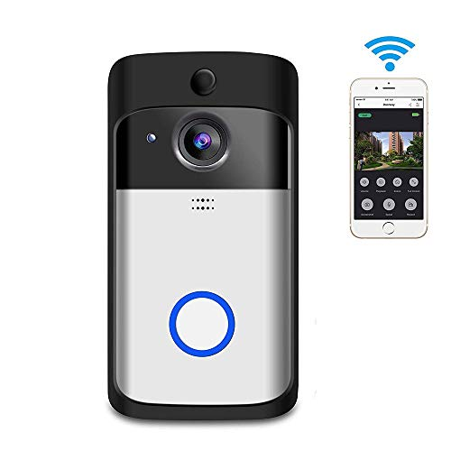QCHEA Smart WiFi Video Door Bell, with Chime 16G Card 720P HD 166° Wide Angle Door View Security Camera 2-Way Talk, Motion Detection, Night Vision, App Remote Control for IOS/Android