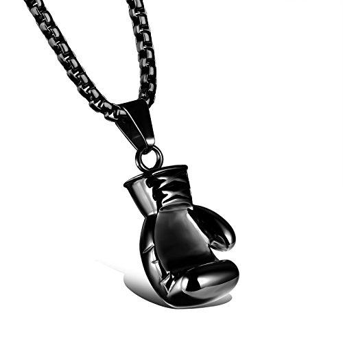 iLove EU Edelstahl Anhänger Halskette Schwarz Boxhandschuh Boxhandschuhe Handschuhe Valentinstag Paar Partner Geschenk Herren mit 60cm Quadrat Kette