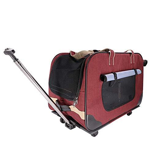 Yzibei Kinderwagen, trolley, huisdier, trolley, draagbare rollende reistas kat, puppy hond en opvouwbare afneembare handgreep, kinderwagen, fietstas, bagagetas, max. capaciteit 33 kg