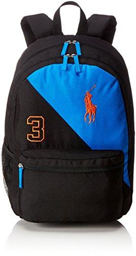Ralph Lauren Unisex-Kinder Banner Stripe 3 Backpack Rucksack, Schwarz (Black/Royal/Orange), 18x44x31 cm