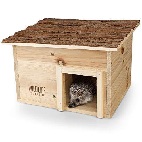 WILDLIFE FRIEND | Casa para erizos con suelo de madera y techo de vacuno, para invierno, para el jardín, un refugio impermeable para erizos durante todo el año