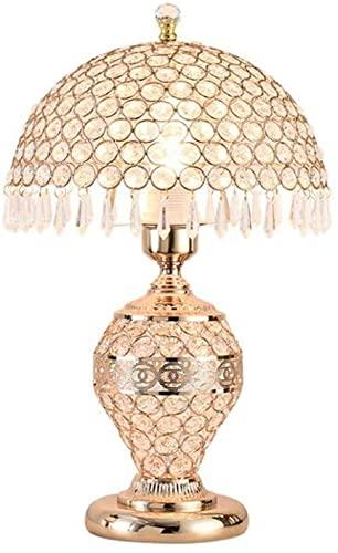 Fisecnoo Lámpara De Mesa De Cristal, Luz De Dormitorio, Lujo, Romántico, Estilo Europeo, Hogar,...
