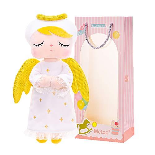 Metoo Baby Plüsch Puppe weiche Rag Puppen Plüsch Spielzeug gefüllt Baby Gril Geschenke mit Geschenk Tasche Baby Spielzeug ab 0 zu 6 Monate 1 2 Jahr 33CM