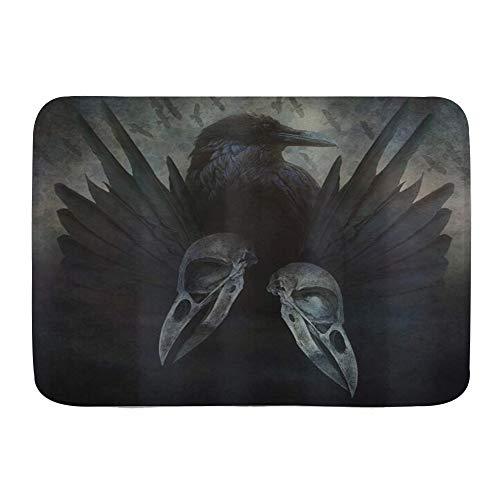 VINISATH Alfombra de baño,Lámina artística Alas de espíritu de Cuervo gótico Misticismo inquietante Oscuro Oscuro Oculto,Alfombra Absorbente,Alfombra de baño,Dormitorio,Cocina,Suelo de Inodoro