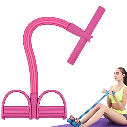 arteesol Multi-Function 4 Tension Rope sit-up Beintrainer, 4-Bänder Sit-Up Expander, Pull Rope Trainingsgeräte, Sport und Fitness Stretch-Seil, für Home Gym Fitness Training (Pink)