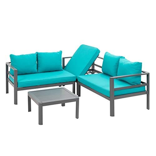 greemotion Lounge-Set Lago, Gartenmöbel-Set aus Aluminium in Anthrazit, Design-Sitzgruppe für Indoor und Outdoor, inklusive petrolfarbener Kissen