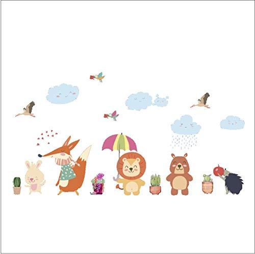 Cartoon Lapin Oiseau Lion Fox Sticker Mural Pour Enfants Chambres Home Decoration Forest Animaux Art Decal Maternelle Mur Décor