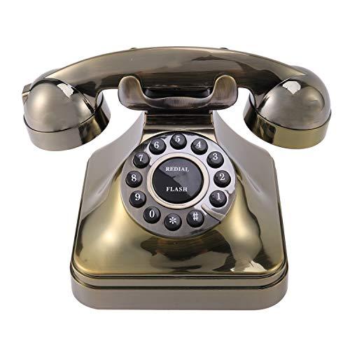 Gaoominy WX-3011 TeléFono de Bronce Antiguo TeléFono Fijo Vintage Llamador de Escritorio Oficina Casa Hotel TeléFono Antiguo