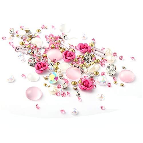 1box Mixte Nail Art Décoration Cristal Précieuses Charms perle rose design Goujons clou 3d Diy Nails Accessoires pour femmes filles (rose)