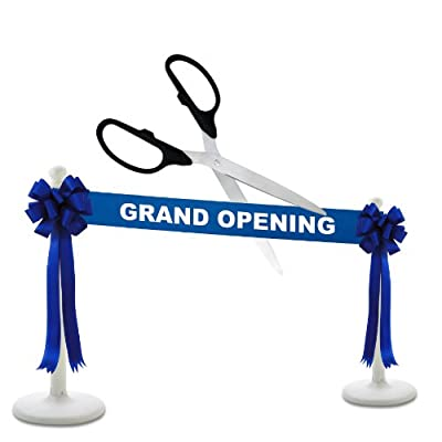 """Deluxe Grand Opening Kit - 36"""" Silver Ceremonial Ribbon Cutting Scissors with 5 Yards of 6"""" Grand Opening Ribbon, 2 Bows and 2 White Plastic Stanchions"""