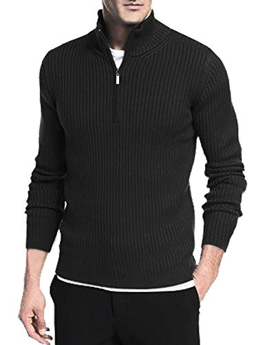 Daupanzees Mens Ribbed Slim Fit Knitted Pullover Turtleneck Sweater Quarter Zip Up Cotton Thermal Sweatshirt Black