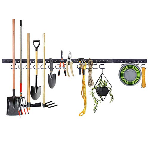 Honeyhouse Adjustable Garage Tool Organizer Wall Mount, Wall Holders for Tools with 4 Rails 16 Hooks, Garage Tool Organizer Garden Tool Organizer Garage Storage for Rake Broom and Yard Tools