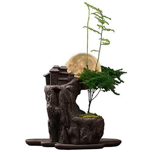 Créatif En Pot Bonsaï Antique Pourpre Sable Pot De Fleurs Intérieur Bureau Personnalité Plante Verte Grande Fleur Respirant Avec Plateau (Couleur : C)