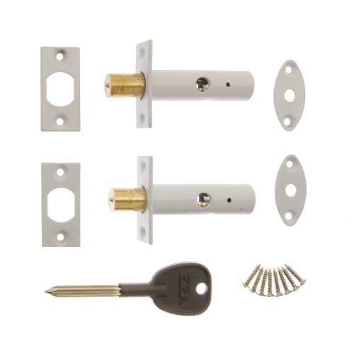 ERA 838-13 - Cerrojos ocultos de seguridad con 1 llave (2 unidades), color blanco