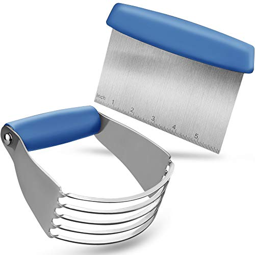 Pastry Cutter Set, EAGMAK Pastry Blender and Dough Scraper, Professional Stainless Steel Dough Cutter/Blender Scraper Set for Kitchen Baking Tools (Blue)