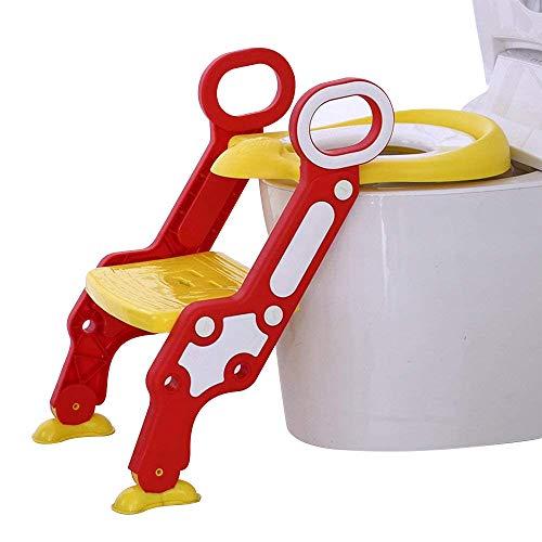 Doubleblack Toilettentrainer mit Treppe, Toilettenleiter für Kinder Höhenverstellbar Klappbar, Anti-Rutsch Schritte und Weiches PU-Kissen, Geeignet für Kinder von 1-7 Jahren(Gelb Rot)