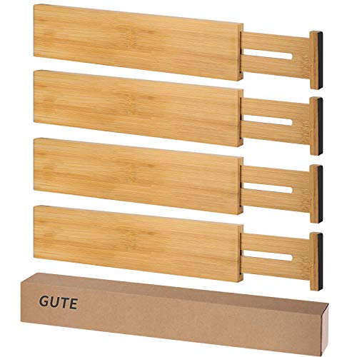 Gute Drawer Organizers Bamboo 4 Pack Spring Loaded Adjustable Drawer Dividers Large Expandable Wooden Drawer Organizer Separators for Kitchen Bedroom Baby Drawer Bathroom Office