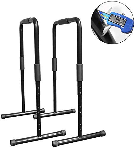 AMITD Einstellbare Gravity Fitness Parallettes, Push Up Stand Bar I Dip Station I Fitness Rack,Schwarz