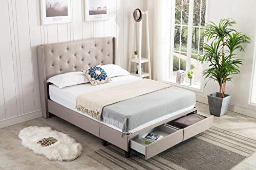 Home Life Platform Bed with Drawers, Grey