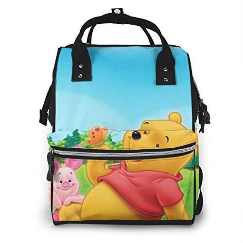 JUKIL Zaino per pannolini Winnie The Pooh Piglet Tigger Eeyore Mummy Backpack Zipper Travel Daypack Men Women Teens Gift