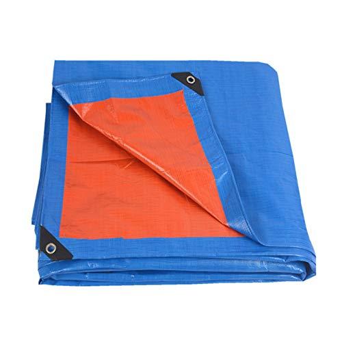 Lona de PE Impermeable Cubierta de Lona Resistente para Trabajo Pesado con Ojales para Muebles de Jardín de Cubierta de Planta de Patio Al Aire Libre, 170g/M², Azul-Naranja