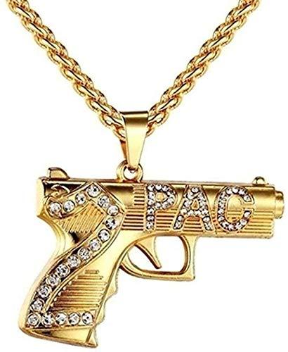 NC190 Moda Hip Hop Estilo Pistola patrón Colgante Collar Chapado en Oro Collares para Hombres Collar de Cadena Larga joyería