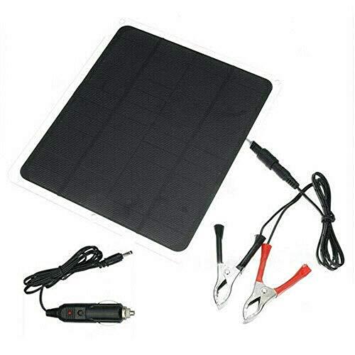 XIAJIE Solar Charger 20W Portable Solar Panel, USB Port 5V (DC Output), Cigarette Lighter 12V (DC Output), Alligator Clip 12V (DC Output), Photocell 600mA for Car Boat Yacht Outdoor (Black, 1)