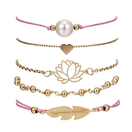 Beaded Bracelets for Women - Adjustable Charm Pendent Stack Bracelets For Women Girl Friendship Gift Rose Quartz Bracelet Links with Pearl Golds Plated 5pcs/Set (Feather & Lotus)