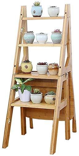 Escalera de mano de madera portátil multifuncional Taburete de escalera Ladilla de bambú plegable 4 pasos, silla de escalera de casa, escalera multifunción / soporte de flores / sillón, oficina de bib