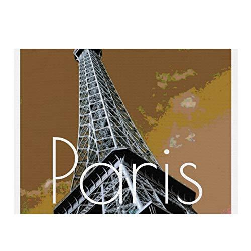 Alfombrilla de secado de microfibra para cocina, Love & Romance City of Paris Torre Eiffel Francia Super absorbente de secado rápido para platos de cocina, 15,7 x 11,8 cm