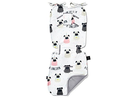 La Millou - Reversible Stroller Pad - Car Seat Liner,Soft, Thick Hypoallergenic Filling (Doggy Unicorn - Dark Grey)