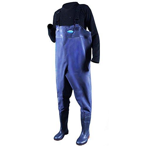 Hippodoctor Herren Fishing Wathose mit Stiefel, wasserdicht, atmungsaktiv Gummi leicht Anti-Rutsch Waten Overalls Hose mit Innentasche Verstellbarer Schultergurt, blau
