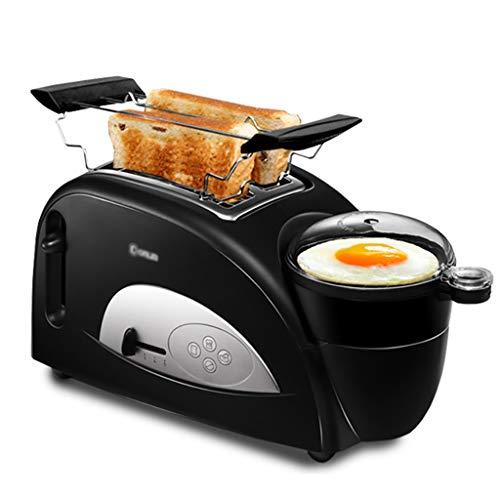 Tostadora 2 Slice Toaster y huevo Cafetera, 4-en-1 Inicio multifunción Máquina desayuno pan tostado y huevo Cafetera, Tostadora de ranura ancha con parrilla de acero inoxidable, 5 de control de tostad