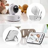 Reer 80440 BabyCam XL, Video-Babyphone mit Nachtsicht-Kamera und Bewegungsverfolgung, Gegensprechfunktion, Thermometer, Wiegenliedern und Nachtlicht, weiß