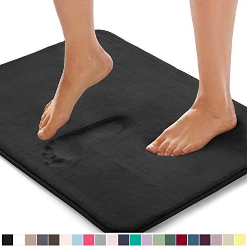 Gorilla Grip Original Thick Memory Foam Bath Rug, 48x24, Cushioned, Soft Floor Mats, Absorbent Premium Bathroom Mat Rugs, Machine Wash and Dry, Luxury Plush Comfortable Carpet for Bath Room, Black