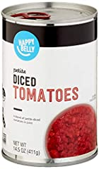 One 14.5-ounce can of Happy Belly Petit Diced Tomatoes Non-GMO project verified, BPA non-intent Satisfaction Guarantee: We're proud of our products. If you aren't satisfied, we'll refund you for any reason within a year of purchase. 1-877-485-0385 An...