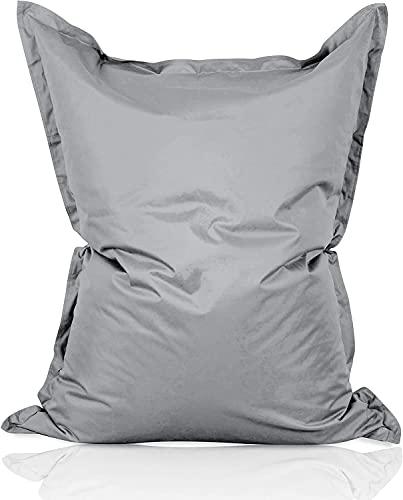 Lumaland - Giant Bean Bag Chair - 140x180 cm - Water Resistant Outdoor Garden Bean Bag - Indoor living room gamer bean bag floor cushion lounger - Grey