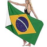 Liumt Flagge von Brasilien Strandtuch Soft Absorbent Badetuch Schnelltrocknende Handtücher Reisetuch für Bad 32x52inch