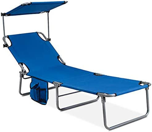 GYMAX Folding Chaise Longue Adjustable Beach Chair with Canopy Sun Shade Side Pockets Heavy product image