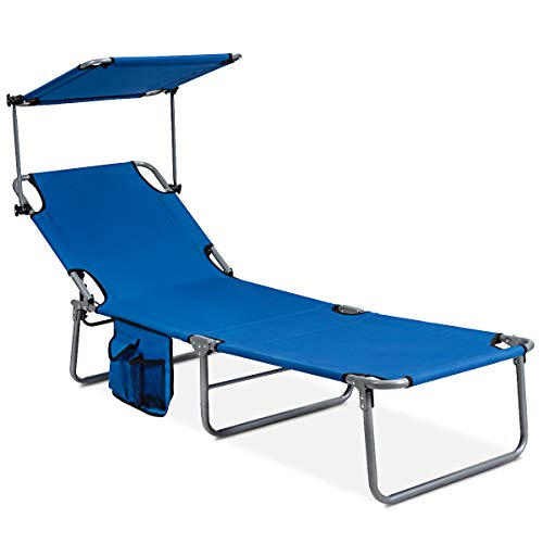 GYMAX Folding Chaise Longue, Adjustable Beach Chair with Canopy Sun Shade & Side Pockets, Heavy Duty Sunbathing Recliner Cot for Outdoor Patio Yard Poolside (1, Navy)