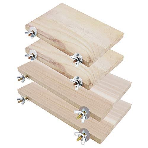 YINETTECH 4 trampolines de madera para hámster de chinchilla de madera rectangular para mascotas, plataforma con arandela de tuerca de tornillo para juguete de animales pequeños