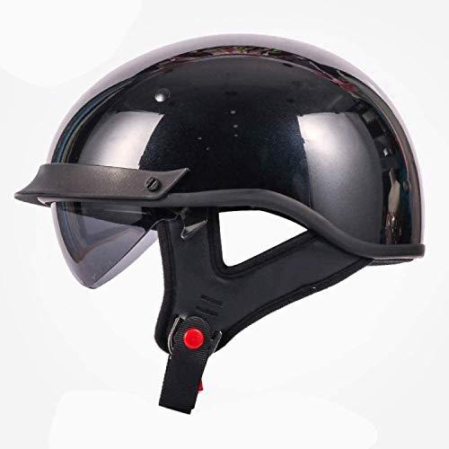 EBAYIN Cascos Half-Helmet Cascos Abiertos Medios Cascos Media Cara para Motocicleta Harley Retro Dot/ECE Neutral Cruiser Chopper Skateboard Jet Casco,BrightBlack-L=(59~60cm)