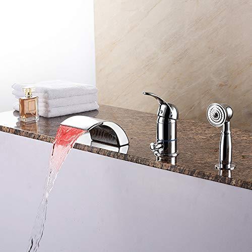 BFDMY DREI-Loch Wasserfall Badewannenarmatur Handbrause Wannenrandarmatur mit LED Licht Wannenrand Armatur Duschsystem Bad Elegant Klassisch Duschsets,Silber,Chromefaucet