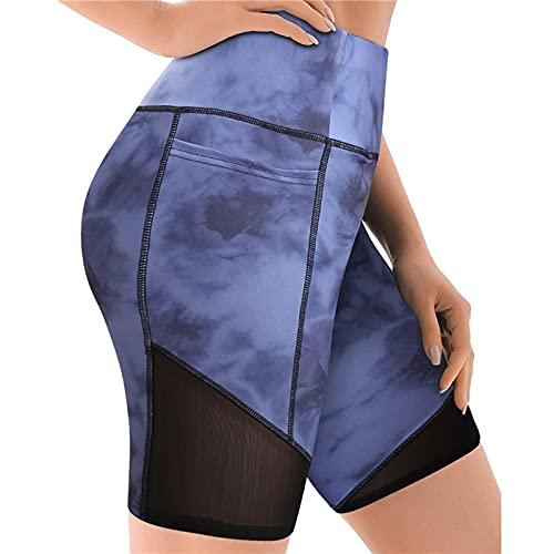 Leggins de Mujer Tie Dye con Costura de Malla Pantalón Corto Deporte Mujer Cintura Alta con Bolsillos Shorts Deportivos Push Up Mallas de Fitness Pantalones Cortos Mujer Ideal para Yoga y Pilates