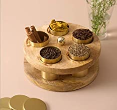 Nestroots® Mango Wood Masala Dabba Box | Spices Box for Kitchen | Mouth Freshner Box for Dining Table | Spice Jar Container with lid (Gold)