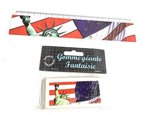 Totales Créations-Lote de una regla de plástico flexible de 20 cm, estatua de la libertad + una goma gigante de 8,5 cm
