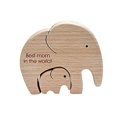 Cute Elephant Mother and Child Figurines Handmade Crafts 07042021065232