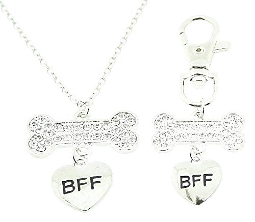 Vrouwelijke ketting - vrouw - voor altijd - vriendschap - bff - beste vriend - hond - sleutelhanger - dier - bot - kerstmis - zilver - origineel cadeau idee best friends forever strass
